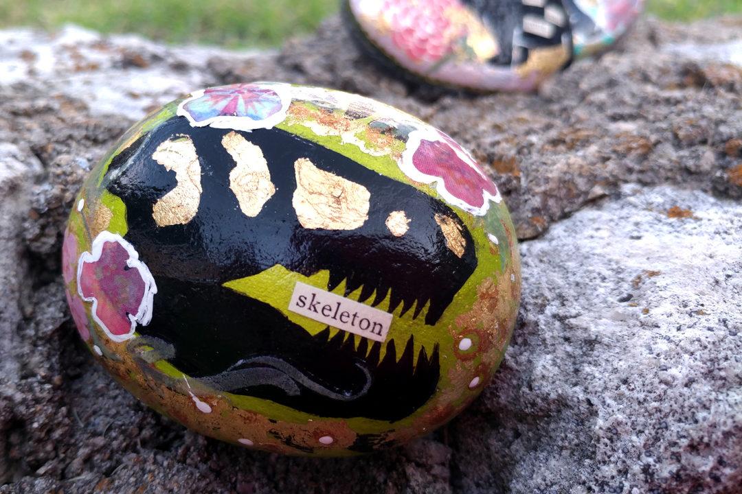Trex painted rock